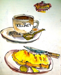 Kopi O and a French toast served with kaya and butter