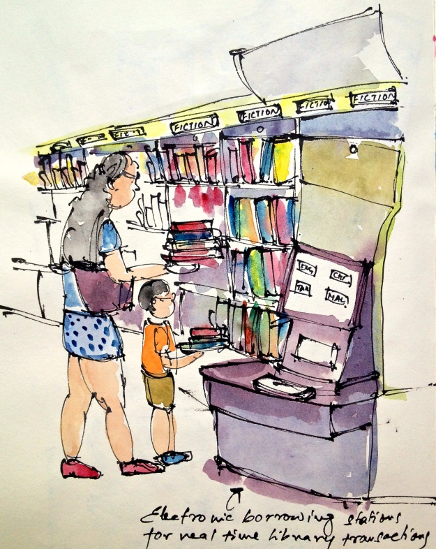 Electronic borrowing stations inside the mobile library