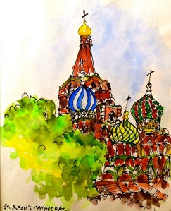 This is my third attempt at sketching St. Basil's Cathedral. I am sitting in the only shaded spot next to the church and sharing the space with a hopeless drunk because everybody else in enjoying the sun.