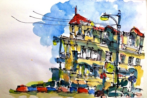 A busy crossing near Belorussky Vokzal, sketched from a local cafe