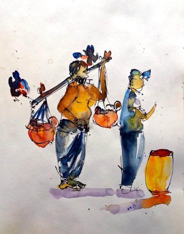 Kavadi bearing devotee swinging to the drum beats