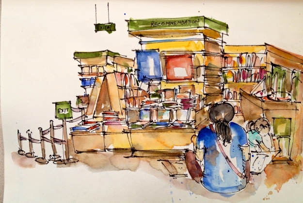 Thumbs up for this mother (also an urban sketcher) who brought her munchkin to a bookshop early morning.
