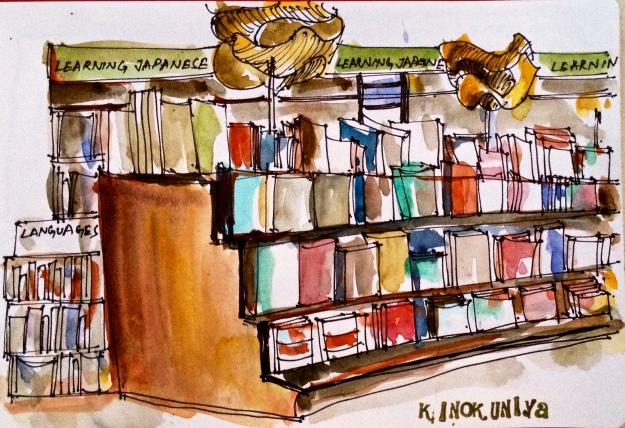 Ignoring the resounding book pleas and sketching more shelves. I am a saint!