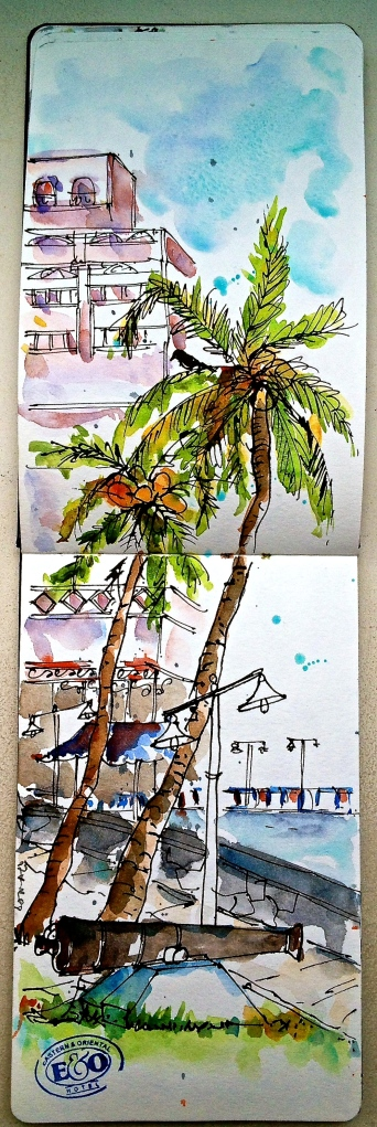 Sketching on the grounds of the colonian Eastern and Oriental Hotel