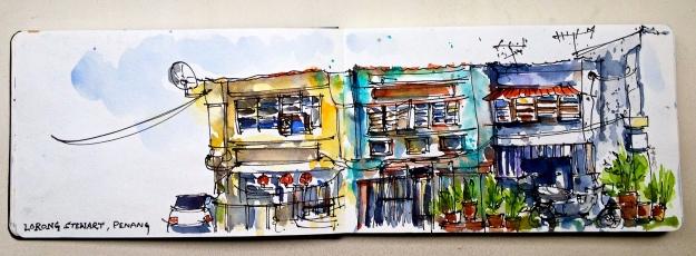 Row of Shophouses on Jalan Penang