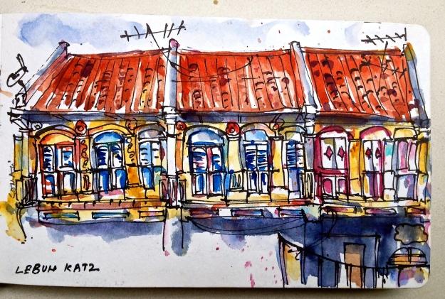 Row of Shophouses on Lebuh Katz