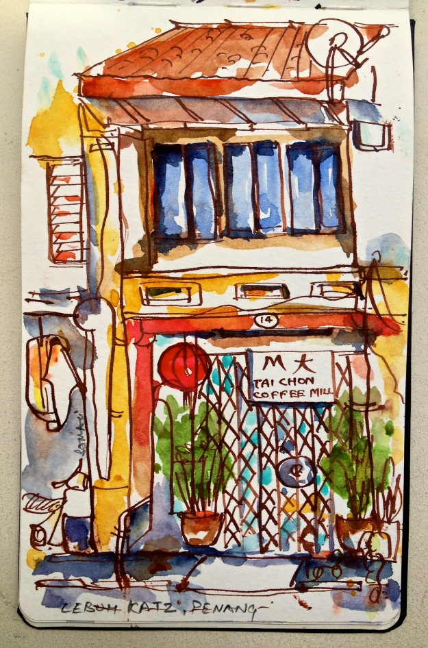 Impression 16 : The owner of this coffee mill on sleepy Lebuh Katz hadn't opened shop yet. But that didn't stop him from keeping us company and conjure a 'thumps up' from time to time as the sketch progressed and muttering in Hokkien - 'beautiful, beautiful'.