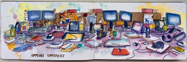 Sketches of some random desks. I was interested in clutter and my husband's desk was a disappointment in this regard. I was so amused by the props at each desk - teddy bears, dinosaur, a pig (??!!) that grunts when you press its belly. Unbeknowst the owner of the pig, I had by fun.