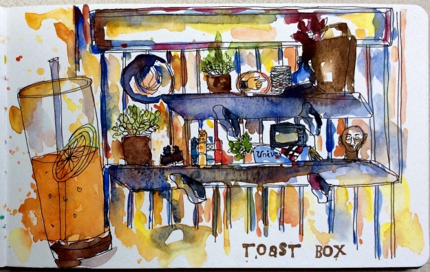 Drinking Honey lemon Juice at Toast Box