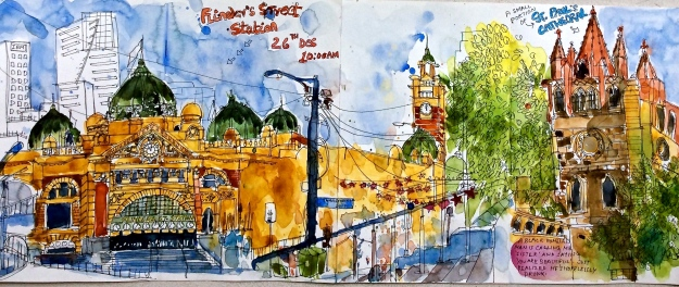 26th Dec / Melbourne : Flinders Station sketched from the steps of St. Paul's Cathedral