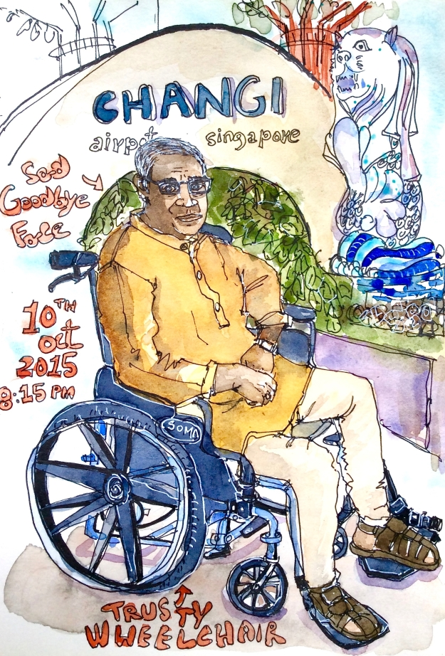 This is the trusty wheelchair that saved the trip - I had to draw it before returning, although the moment wasn't quite agreeable.