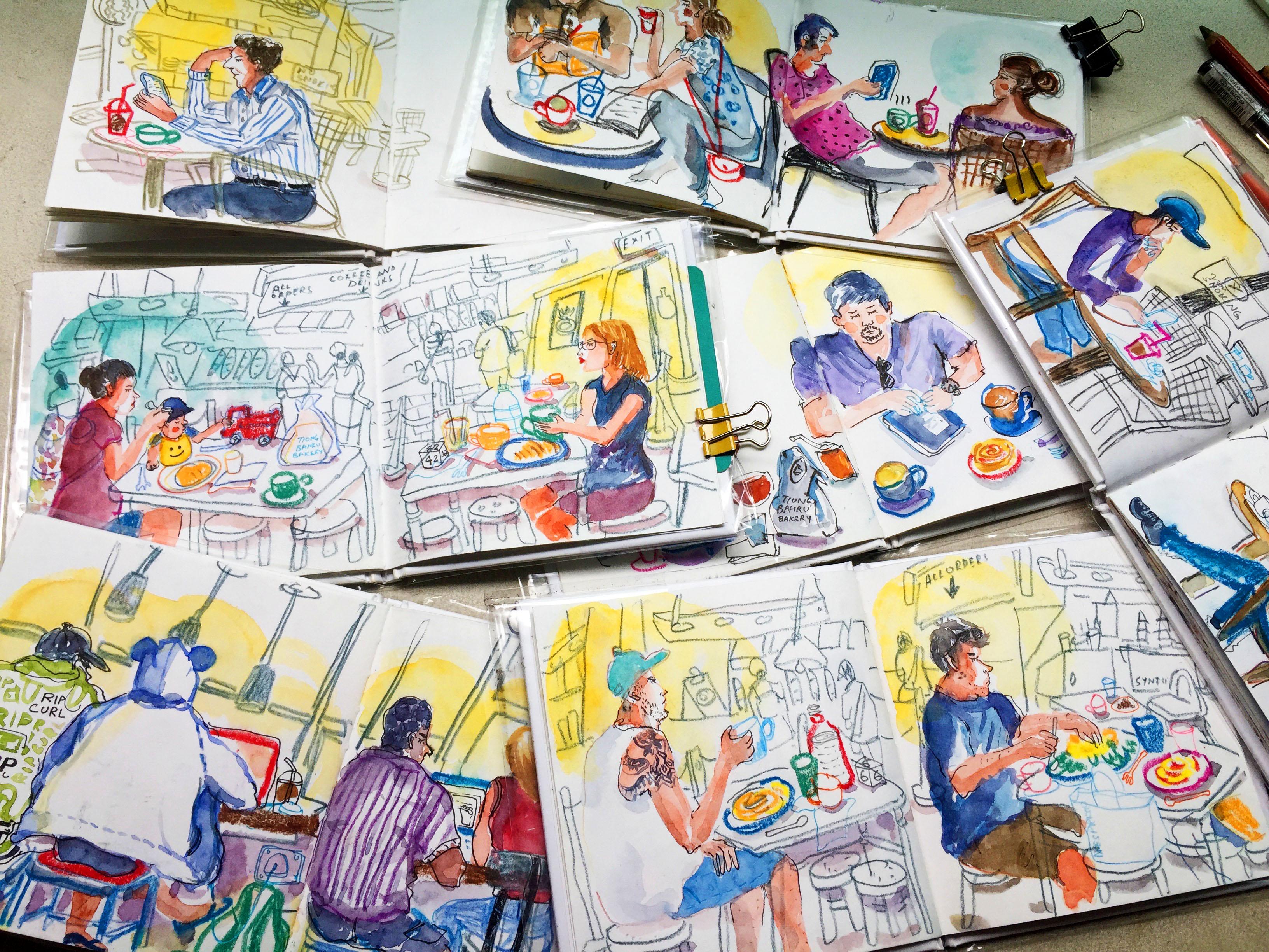 7 sketchbooks